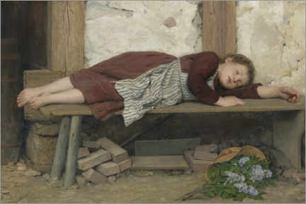 Wall sticker  Sleeping girl on a wooden bench - Albert Anker