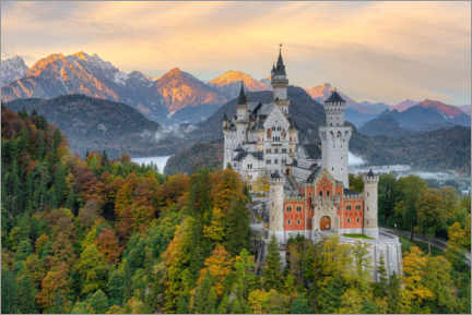 Premium poster  Neuschwanstein Castle in early autumn - Michael Valjak