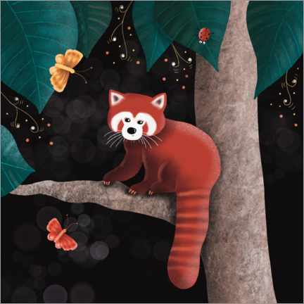 Premium poster  Red panda on a tree - WACHtraum