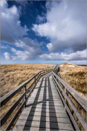 Wood print  Through the dunes to the beach, Sylt - Mandfred Voss