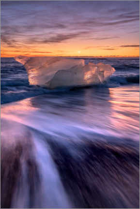 Gallery print  Iceberg on the black beach in sunrise - Mandfred Voss