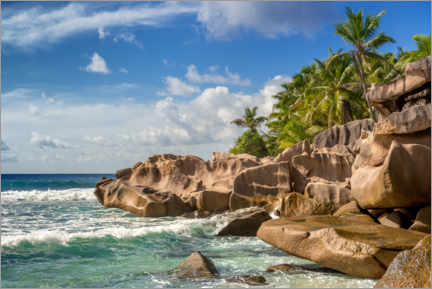 Foam board print  La Digue Island in the Seychelles in the Indian Ocean - Mandfred Voss