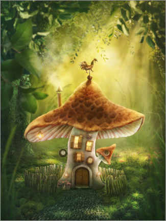 Premium poster  Magic mushroom house in the forest - Elena Schweitzer