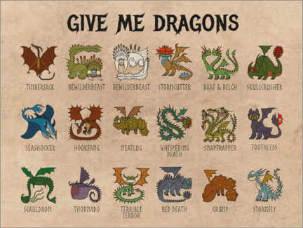Wood print  Give Me Dragons - Breeds of Dragon