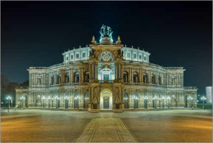 Wood print  Semperoper in Dresden at night - Michael Valjak