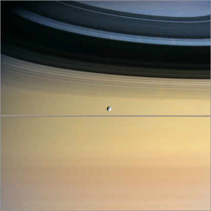 Premium poster Saturn and its moon Dione