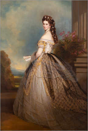 Premium poster  Empress Elisabeth Sisi with star decorations - Josef Matthäus Aigner