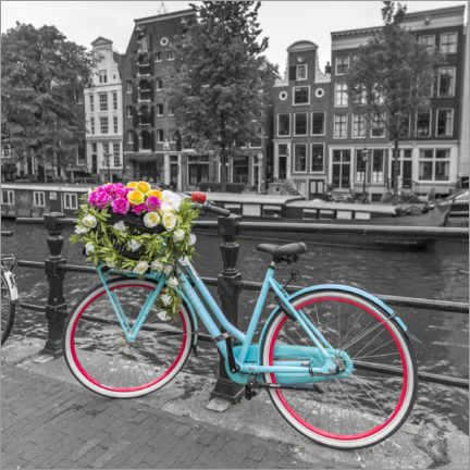Wood print  Amsterdam canal bicycle I - Assaf Frank