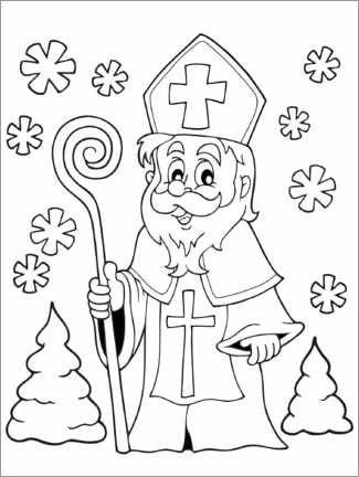 Colouring poster Santa Claus in the forest