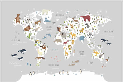 Premium poster  World map wih animals (grey) - Marta Munte