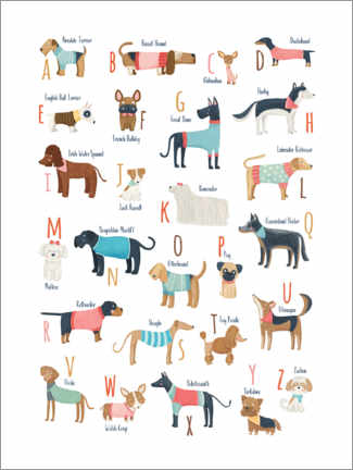 Canvas print  Dogs with clothes alphabet - Marta Munte