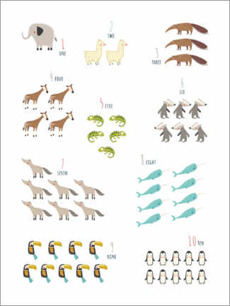 Gallery print  Numbers 1 to 10 with animals - Marta Munte
