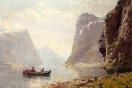 Premium poster Rowing on a fjord