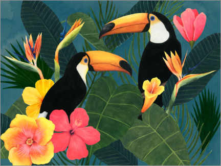 Premium poster  Toucans in the tropical sea of flowers - Grace Popp