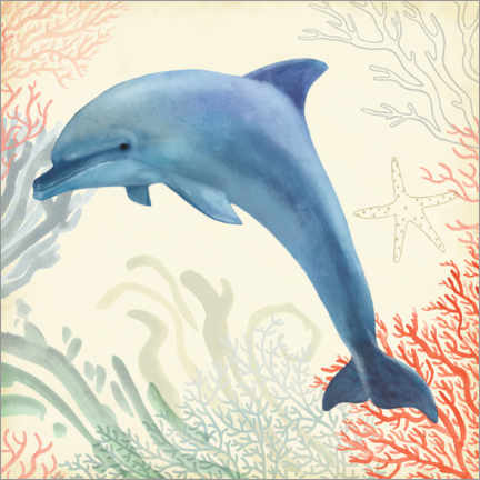 Gallery print  Dolphin in the underwater forest - Victoria Borges