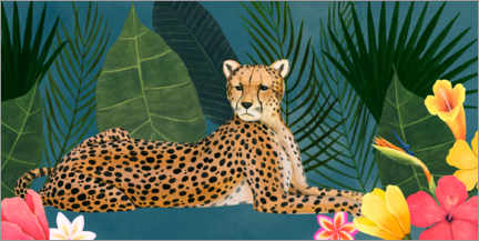 Canvas print  Cheetah in the tropical sea of flowers - Grace Popp
