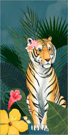 Premium poster Tiger in the tropical sea of flowers