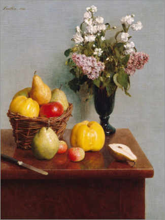 Foam board print  Still life with flowers and fruits - Henri Fantin-Latour