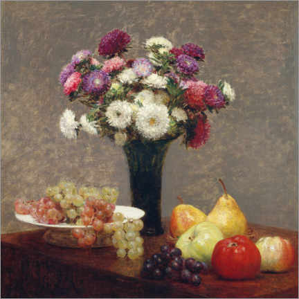 Gallery print  Asters and fruits on a table - Henri Fantin-Latour
