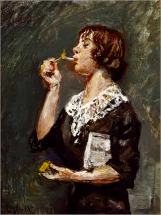 Premium poster Woman lighting a cigarette