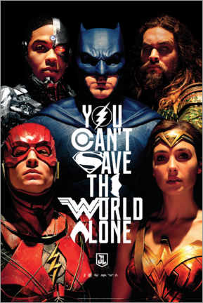Acrylic print  Justice League - Can't save the world alone