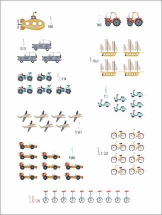 Foam board print  Numbers 1 to 10 with vehicles - Marta Munte