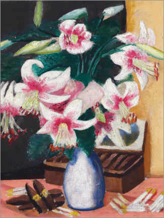 Wood print  Still life with the Turk's Association (flowers with a cigar box) - Max Beckmann