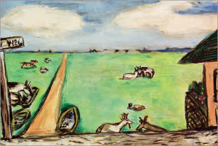 Canvas print  Green meadow with cows - Max Beckmann
