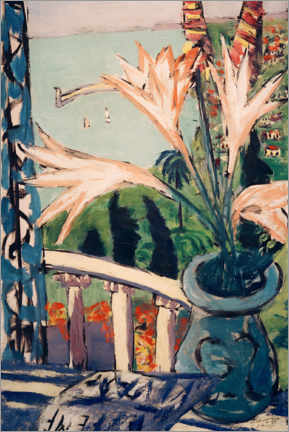 Acrylic print  View of Menton with a lily pot - Max Beckmann