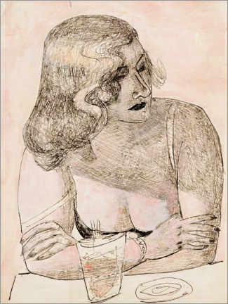 Acrylic print  Young woman with glass - Max Beckmann