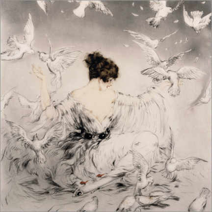 Premium poster  Girl with pigeons - Louis Icart