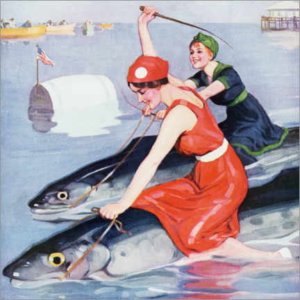 Premium poster  Two women on a fish - Brynolf Wennerberg