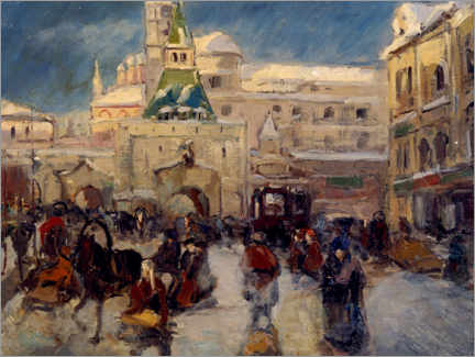 Premium poster  The Ilyinskaya Square with the Ilyinsky Gate in Moscow - Georgi Alexandrowitsch Lapschin