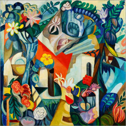 Premium poster  Composition with house and flowers - Hélène Oettingen