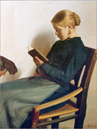 Canvas print  A young girl reading, Maren Sofie Olsen - Michael Peter Ancher