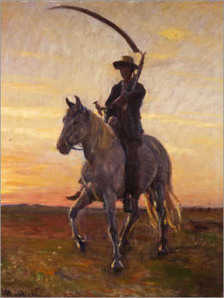 Aluminium print  Young man rides home from the harvest in the field - Michael Peter Ancher