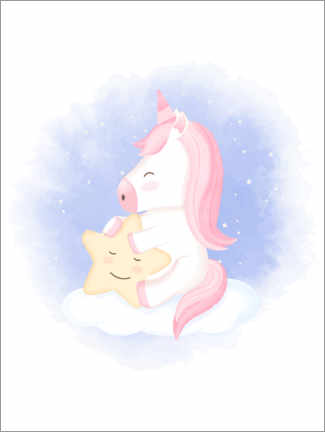 Acrylic print  The unicorn and the little star - Kidz Collection