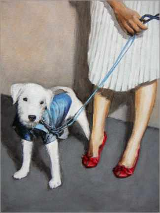 Wall sticker  Dog with Lady - Sarah Morrissette