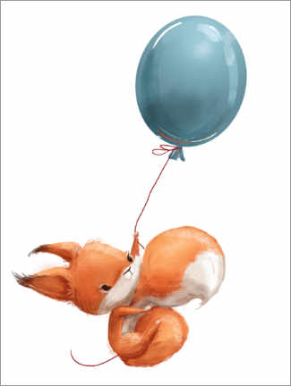 Wood print  Red squirrel with balloon - Kidz Collection