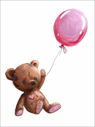 Premium poster Teddy bear with balloon