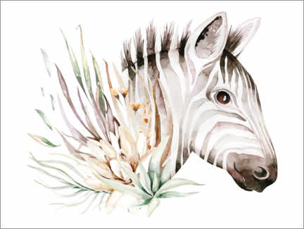 Gallery print  Zebra in the sea of flowers - Kidz Collection