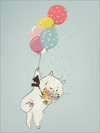 Wall sticker Cat with balloons