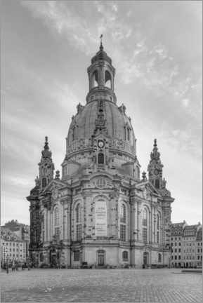 Canvas print  Frauenkirche in Dresden black and white - Michael Valjak