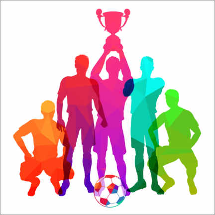 Gallery print  Silhouettes of soccer players with trophy cup - TAlex