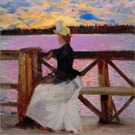 Acrylic print  Marie Gallén on the Kuhmoniemi Bridge - Akseli Gallen-Kallela