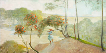 Premium poster Landscape with rowan trees