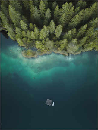 Foam board print  Forest by the lake from above - Lukas Saalfrank