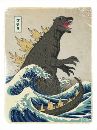 Canvas print  The great Godzilla of Kanagawa - Michael Buxton