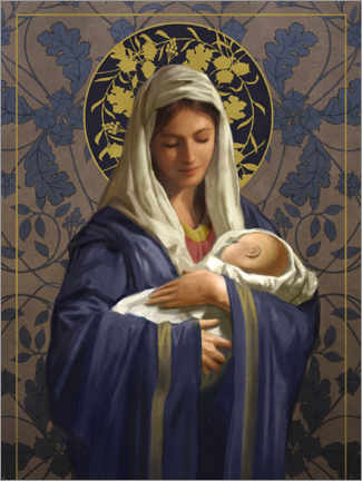 Premium poster Maria in a blue cape with Baby Jesus