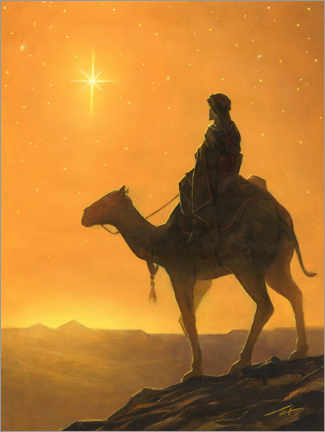 Premium poster Wise on a camel watching holy star
